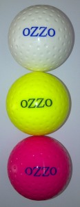 Ozzo dimple hockey balls (white, yellow, pink)